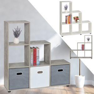Treppenregal Raumteiler mit 6 Fächer, Farbe: Beton,Raumteiler Stufenregal Bücherregal Aktenregal Standregal, 105 x 108 x 29 cm