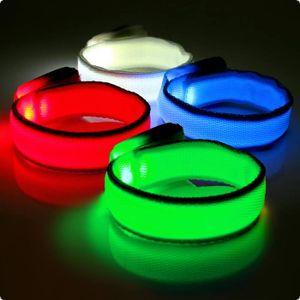 LED-Leuchtarmband leuchtendes Klettarmband Kinder LED Farbe  - Weiss
