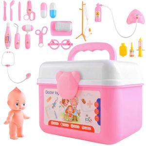 Arztkoffer Spielzeug Kinderarztkoffer Doktor Set  Lernspielzeug Kinder Rollenspiele 24 tlg Kit mit kleine Puppe 9511