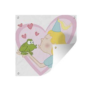 Gartenposter - Eine Illustration Prinzessin küsst einen Frosch - 200x200 cm