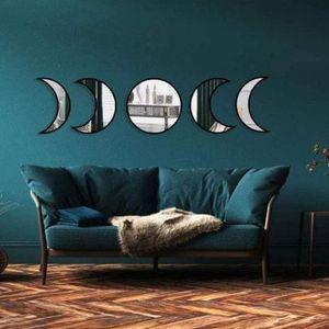 Skandinavisches natürliches Nachbildung, Acryl-Mondphasen-Spiegel, Innendesign, Holz, Mondphasen-Spiegel, Bohemian-Wanddekoration für Zimmer, nicht echte Spiegel (schwarz)