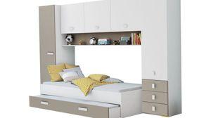 Schrankbett Lou inkl Bettkasten weiß / braun B 304 Jugendzimmer Kinderzimmer Gäste Studentenzimmer Jugendbett Wandbett