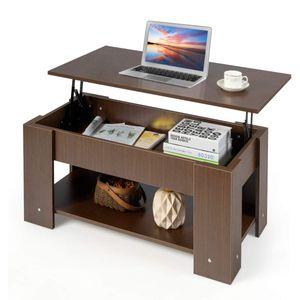 COSTWAY Couchtisch hoehenverstellbar, Sofatisch mit Ablagefach, Beistelltisch aus Holz, Kaffeetisch Teetisch fuer Wohnzimmer Balkon Flur braun