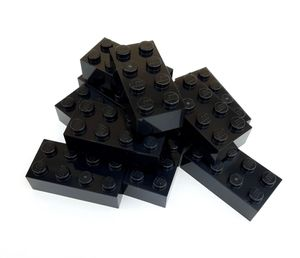 Lego© Steine 10 schwarze originale basic Bausteine mit 2*4 Noppen *neu und unbespielt*