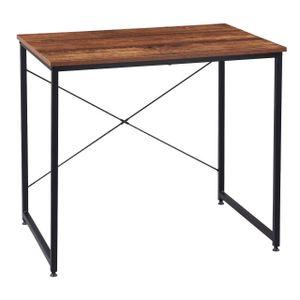 WOLTU Z-DES03wdrts Holz mit Eisen-Gestell Computertisch Bürotisch Schreibtisch PC Tisch Arbeitstisch Esstisch Große Desktop Design schwarz Vintage