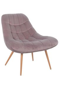 SalesFever Loungesessel mit XXL-Sitzfläche | Bezug Stoff in Samt-Optik | Gestell Metall in Holzoptik | üppige Steppung | B 76 x T 87 x H 86 cm | rosa