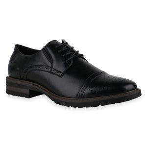 Mytrendshoe Herren Halbschuhe Brogues Schnürer Cut-Outs Profil-Sohle Schuhe 836007, Farbe: Schwarz, Größe: 40