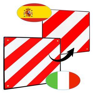 Wolketon Warntafel fuer Italien und Spanien, 2in1 50x50cm Aluminium Warntafel, Reflektierend, fuer Fahrradtraeger, Heckanhaenger, Wohnwagen, Anhaenger