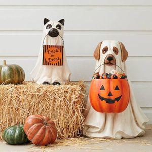 Halloween Geist Hund Katze Ornamente mit Süßigkeiten Halter Dekor, Süßes oder Saures Gartenfiguren Tiere Statue Halloween Süßigkeiten Eimer Theme party Dekor