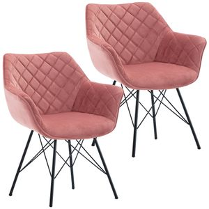 Duhome 2er Set Esszimmerstuhl Armlehnstuhl Sessel Polsterstuhl Stoff Samt Rosa Pink Metallgestell