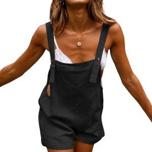 Frauen Baumwolle Leinen Overall Strampler Shorts Cargo Ärmellose Overalls Jumpsuit,Farbe:Schwarz,Größe:XXL