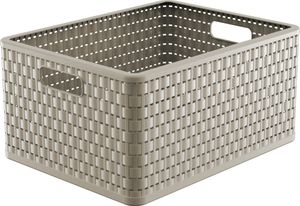 Rotho Country Plastikkorb / Aufbewahrungsbox, 18 L,  A4 36.8x27.8x19.1cm Cappuccino, EF250036