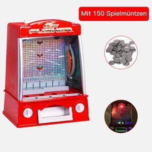 GOPLUS Münzschieber Spielautomat, Geldspielautomat Mini, Spielhallen Automat, Coin Pusher Münzen, für Familie oder Kinder, 35 x 26 x 20 cm (Rot)