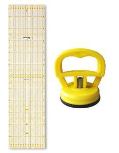 Prym Universal-Lineal 15x60cm Omnigrid und BabySnap Lineal Griff gelb