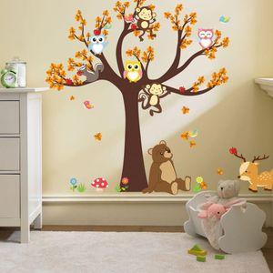 Cartoon Wald Tier Eule AFFE Bär Baum Wandabziehbilder,Kinderzimmer Babyzimmer Entfernbare Wandtattoos Wandbilder