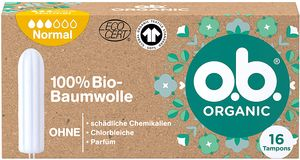 o.b. Organic Normal Bio Tampons mittel stärkere Tage 100% Bio Baumwolle 16 Stück