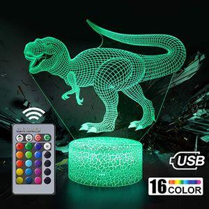 3D LED Nachtlicht, Dinosaurier Serie 16 Farbe Fernbedienung Tischlampe Spielzeug Geschenk Kinder Home Dekoration