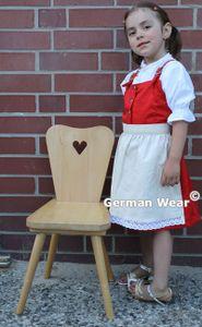 3-tlg Kinder Dirndl Mädchendirndl dirndlbluse dirndlschürze kleid Rot/weiss, Größe:98
