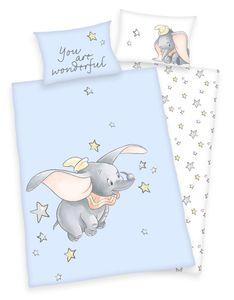 Disney`s Dumbo Baby Bettwäsche 40x60 + 100x135 cm 100% Baumwolle