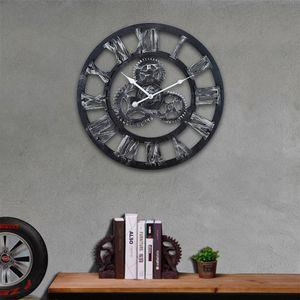Wanduhr Lodge Shabby Wanduhr lautlos Design Wanduhren Vintage 60 cm Metall für Küche Büro Arbeitszimmer Office