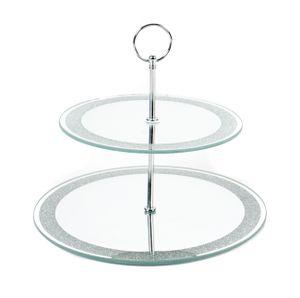 Spiegel-Etagere von Alpina mit 2 Ebenen aus verspiegeltem Glas, Metall-Gestänge, Tragering, versilbertem Glitzerrand, Rund ca.20 / 25cm, Höheca.22 cm