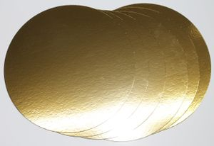 5 Stück Tortenunterlagen, Pappe rund Ø 24cm goldfarben Tortenplatten mit Folie beschichtet, verhindert Durchnässen