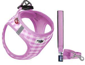 Curli Puppy Set - Vest Air-Mesh Geschirr & Leine Farbe: Rosa, Größe: XXX-Small - Schulter 20-24 cm | Brust 24-28 cm