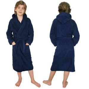 Kinder Frottee Bademantel aus 100% Baumwolle für Mädchen und Jungen Dunkelblau 152