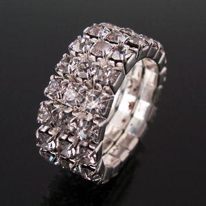 Ring Fingerring Silber Strass 3-reihig klar Bandring 1cm stretch Schmuck Damen R50