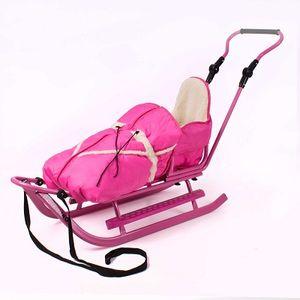 Luxus Schlitten pink-pink incl. Fußstütze, Schiebestange und Fußsack NEU