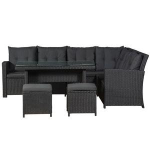 Juskys Polyrattan Sitzgruppe Lounge Santa Catalina schwarz – Gartenmöbel-Set mit Eck-Sofa, 2 & Tisch - bis 6 Personen - wetterfest & stabil