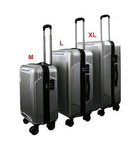 SET Reisekoffer Silber Trolley Hartschale Reise Koffer Handgepäck  4 Doppelrollen TSA-Schloss (406023 SET mit 3 Koffern (M+L+XL)