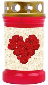 Grabkerze Rot, Brenndauer: 40 Stunden, Motiv: Rose Herz