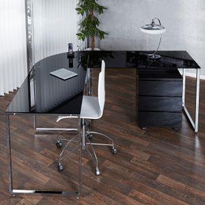 cagü: Design Glas-Eckschreibtisch Schreibtisch [MANHATTAN] Schwarz mit Chromgestell 180cm x 160cm - Beidseitig aufbaubar!
