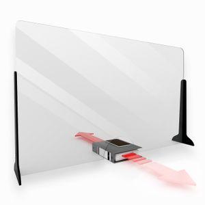KLEMP Schutzwand Transparent Spuckschutz Thekenaufsatz - Spuck und Niesschutz - ALFA - 150x65 cm mit Durchreiche