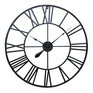Antic by Casa Chic - Große Metall Wanduhr mit Quarz Uhrwerk - 60 cm Durchmesser - Schwarz