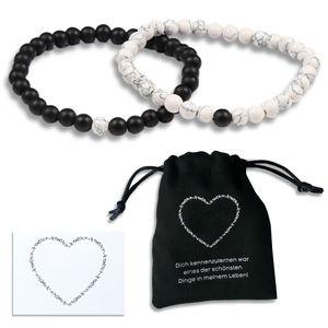 Perlenarmband Stein Herren Damen Partner  Paar Geschenke Perlen Personalisiert Schmuck Armbänder Gravur Freundschaft