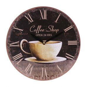 Zeitlose Wanduhr Ø29cm Landhausstil Shabby Vintage Antik Küchenuhr Holzuhr Deko, Motiv:Coffee Shop