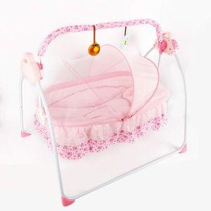 Elektrische Babywiege Stubenwagen Schaukelfunktion Melodien Babyschaukel Automatik Stubenwagen Schlafbett Fernbedienung Musik mit Moskitonetz  (Rosa)