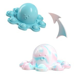 1 Stück Pop it Reversible Octopus Zappelspielzeug Antistress Spielzeug für erwachsene Kinder Push Bubble Fidget Sensory Toy-Blau