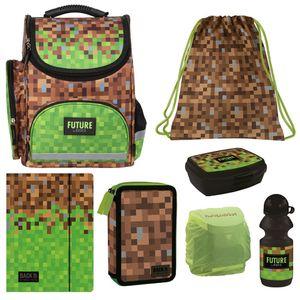 Schulranzen Set 7tlg. Motiv Mine Gaming Pixel grün schwarz braun Ranzen 1. Klasse Craft