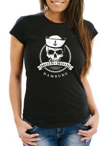 Damen T-Shirt Totenkopf Matrose Anker Motiv Skull Emblem Schriftzug Moin Moin Hamburg Spruch Frauen Fun-Shirt Moonworks® schwarz S