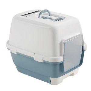 ZOLUX Waschraum mit herausnehmbarer Schublade 58,5 x 44,5 x 48 cm - Stahlblau - Für Kätzchen