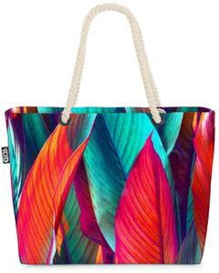 VOID Bunte Bananenblätter Strandtasche Shopper 58x38x16cm 23L XXL Einkaufstasche Tasche Reisetasche Beach Bag