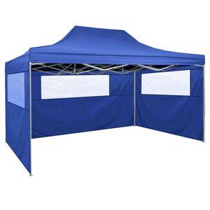 vidaXL Faltzelt mit 3 Wänden 3 x 4,5 m Blau
