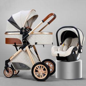 Kombikinderwagen 3 in 1 Kinderwagen Royal Luxury Leder Aluminiumrahmen High Landscape Folding Kinderwagen Kinderwagen mit Geschenken Kinderwagen,Sahne