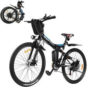 VI VI E-Trekkingrad Elektrofahrrad E-bike Mountainbike Faltbares mit LED Fahrradlicht, 26 Zoll City Bike E-MTB Elektrisches Fahrrad mit 36V 250W und 21-Gang,für Damen, Herren, Unisex