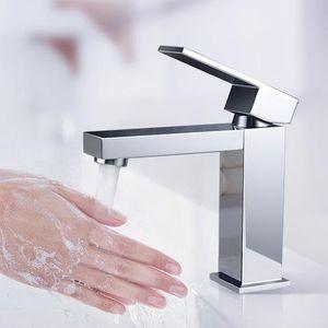 Wasserhahn Bad Armatur Waschbecken Mischbatterie Badarmatur Waschtischarmatur Einhandmischer Messing chrom für Badezimmer