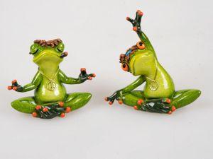 2er Set Yoga Frosch Peace Deko Figur Dekofigur Frösche Tierfigur Froschfigur