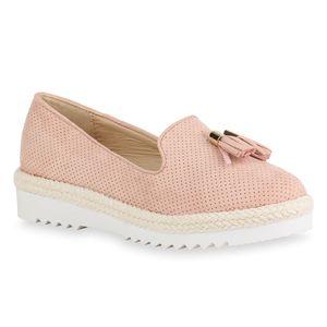Mytrendshoe Damen Slippers Tassel Loafers Bast Plateauschuhe Quasten Wedges 821167, Farbe: Rosa, Größe: 40